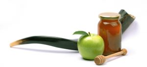 shofar with apple and honey